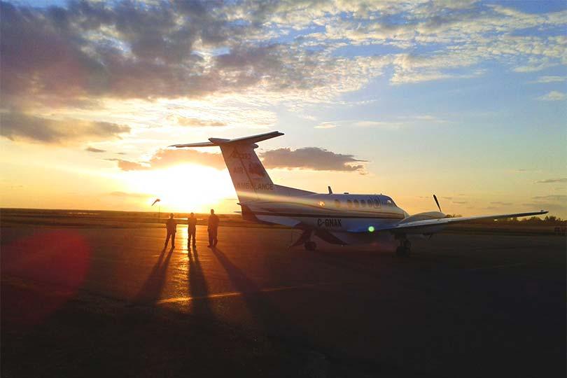 Air-Ambulance-Sunset
