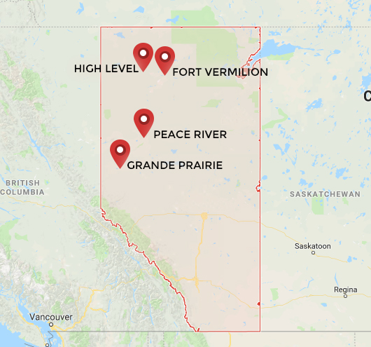 A map of Alberta with markers for High Level, Fort Vermilion, Peace River, and Grande Prairie